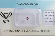 Natural Fancy Purplish Pink Diamond 0.10 ct  with IGI cert *** no minimum price***
