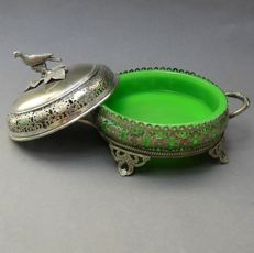 Silver-plated Butter Dish / Bowl + Pigeon / Bird + Green Opaline Glass Bowl | England, 1863.