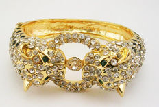 Kenneth J Lane wild panther clamper bracelet