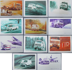 Mercedes-Benz - MEHACO - 11 lithographs/watercolour paintings portfolio of René Broné 1977 - 70 x 50 cm