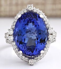 16.81 Carat Tanzanite And Diamond Ring In 14K Solid White Gold *** Free shipping *** No reserve *** Free resizing