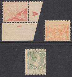 The Netherlands 1924/1926 - Flying Pigeon and Queen Wilhelmina, misprints - NVPH 144, 145 and 177 with offset