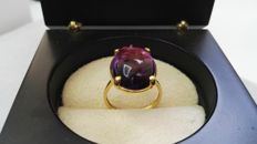 18 kt yellow gold ring with amethyst – Ring size number 16 (Spain)