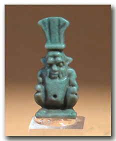 Egyptian Blue Faience Amulet of Bes Wearing the Feather Headdress, 2.3 cm H