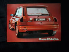 1 brochure Renault 5 Turbo, dimensions approx 30 cm x 22 cm