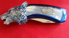 Franklin Mint Collectors Knife / Hunting Knife Wolf, silver plated with blue enamel