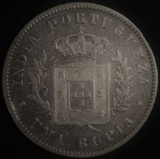 Portugal – 1 Rupee in Silver – D. Luís I – 1882 – Portuguese India – AG: 14.04 – Scarce in this Condition