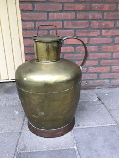 Large antique brass churn kettle -19th century-Netherlands