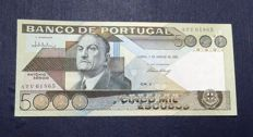 Portugal - 5000 escudos from 1986 - Pick 182e