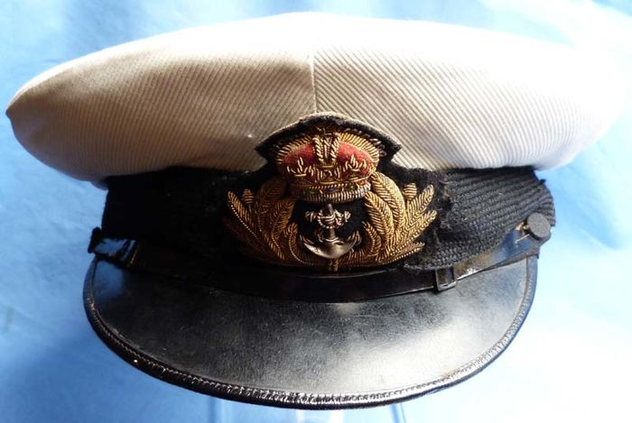 Original British WW2 Royal Navy Officer's Hat - sold by Gieves of London