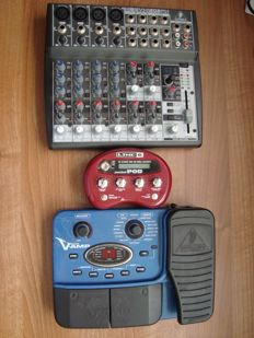 Lot with 3 guitar effects - Behringer XenyX 1202 FX. Mixer. Including adapter - Line 6 Pocket POD portable guitar multi-effect processor. Including adapter and USB cable for the PC connection - Behringer X V-Amp Guitar Effects Processor. Including adapter