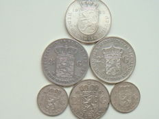 The Netherlands - 1 guilder to 10 guilders 1852/1973 Willem III, Wilhelmina and Juliana (6 pieces in total) - Silver