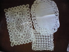 Three centrepieces worked in filet crochet