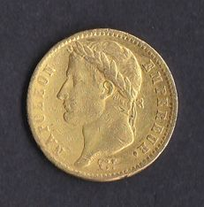 France  – 20 francs – 1813 – Napoleon – gold