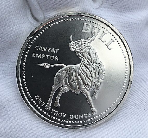 1 OZ Silver Bull / Bear - Caveat Emptor / Vendor