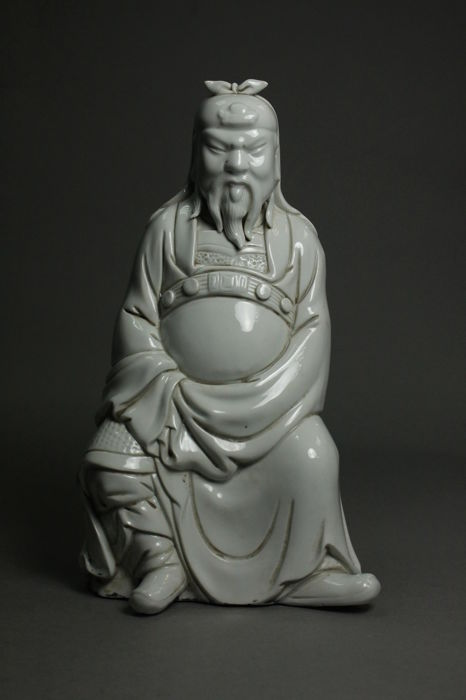 White porcelain of a Guan Yu - China - 21st century