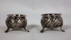 Two sterling silver salt cellars in second empire style, late 19th century