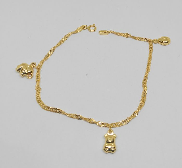 18 Kt Yellow Gold Bracelet With 3 Small Pendants Length