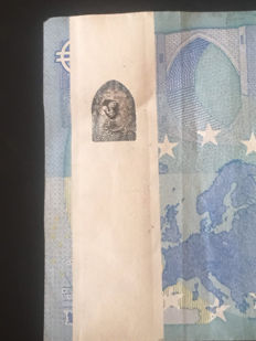 European Union - SPAIN - 20 Euro 2015  Draghi - PRINTING ERROR - WHITE STRIP  - BANKNOTE WITH ERROR