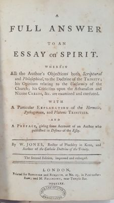 W. Jones - A full answer to an essay on the spirit - 1770