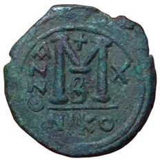 The Byzantine Empire - Justin II (565-578 AD) - Æ Follis (29mm; 13,89g.), Year 10 (574/575 AD) - Nicomedia mint, Officina 2 - SB 369; D.O. 92-103; M.I.B. 46a, b