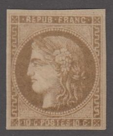 France - 10 c bistre-greenish, signed boule, Yvert 43