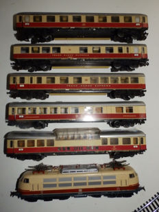 Märklin H0 - 3054/4090/and others - TEE-Intercity with E-locomotive BR 103 of the DB