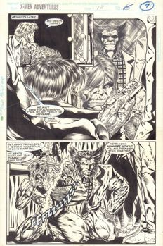 Original Art Page By John Herbert And Greg Adams - Marvel Comics X-Men Adventures #12 - Page 7 - Half-Splash - (1995)