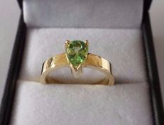 1.14 ct IGE Certified Natural Untreated Green Tsavorite in New Handmade Ring of 14K Solid Yellow Gold  -  Ring Size 17.5/55/7.5 (US)