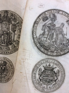 Copper engravings of the stamps of Charles V and of Albrecht and Isabella