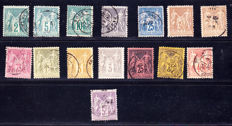 France 1877/1900 –  Series of 15 stamps Type Sage N under U – Yvert between 75 to 95