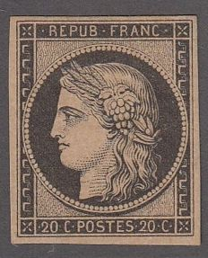 France – 20c black/yellow Yvert 3.