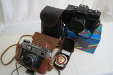 "FED-5,  THE USSR FED (Kharkov) 1977 to 1990.  From the first issues. As a present, the exposure meter ""Leningrad 2"" and the camera BELKA U.S.A"