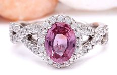 2.42 Carat Pink Ceylon Sapphire 14K Solid White Gold Diamond Ring  *** Free shipping *** No Reserve *** Free Resizing