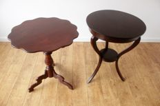 Lot of 2 wine tables - Biedermeier and Empire -The Netherlands - 19th century