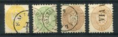 Lombardy-Venetia, 1863/1864 - Levant - 4 stamps with cancellations from Levant and 3 soldi, black - Sass.  n. 29