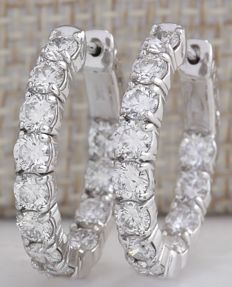 3.50 Carat Natural Diamond Hoop Earrings In 14K Solid White Gold *** Free shipping *** No reserve ***