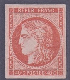 France - 40 c rust-orange, signed Calves and Lemaire, Yvert 48
