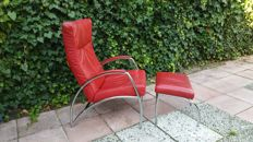 Manufacturer unknown - red leather design chair with ottoman