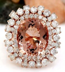 11.37 Carat Morganite And Diamond Ring In 14K Solid Rose Gold  - Ring Size: 7 *** Free Shipping *** No Reserve *** Free Resizing ***