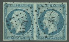 France - 20 c blue/green in a pair type 1 - Yvert 14