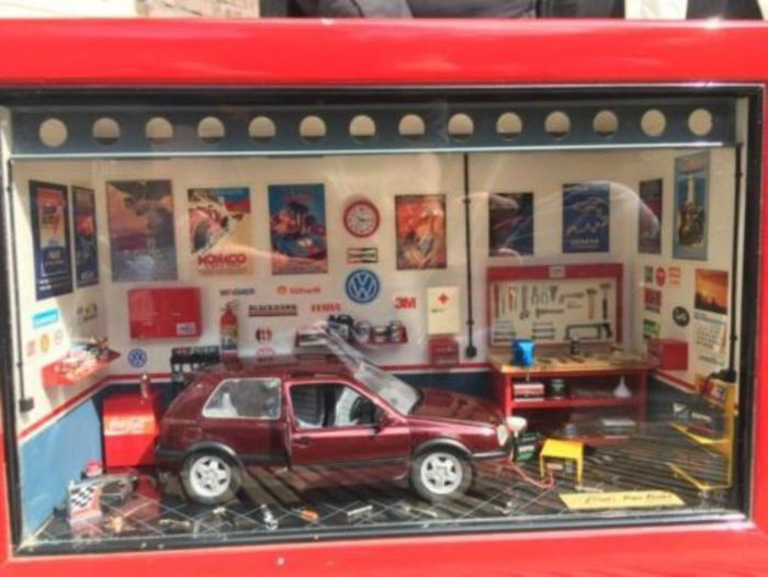 Ferret's Mini Models - Scale 1/24 - Diorama: complete workshop with VW Golf GTI