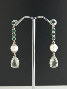 earrings with white Emerald + bright green Amethyst***no reserve price***