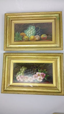 Engslish School (late 19th - early 20th C.) - Still l ife withv fruits  / Still life with flowers (2 x a pair)