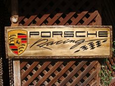 PORSCHE RACING Large unique handmade sculpting logo made from wood - 30,5 cm x 100,5 cm
