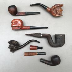 Six vintage pipes and 2 cheroot holders, Briar and gutta percha - ca. 1950