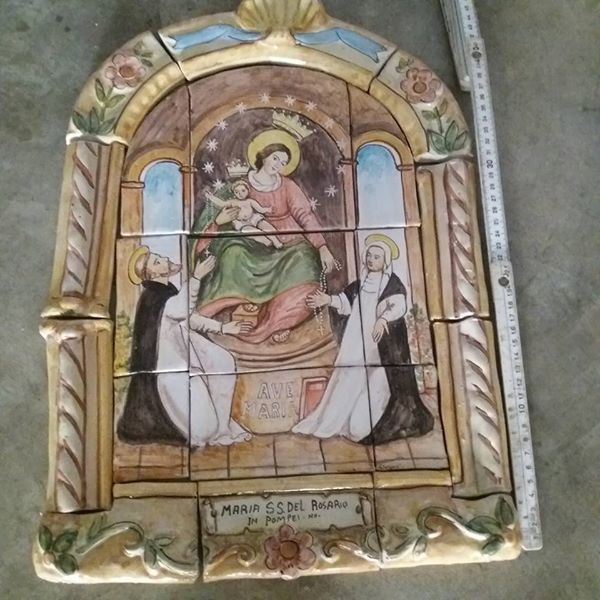 Hand-painted ceramic tiles depicting our Lady of Pompeii, unique piece