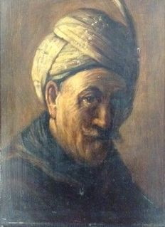 Jan Theuns (1877-1961) - Portret Oude man met tulband (copy after Rembrandt)