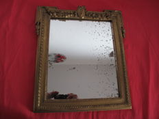 Framed mirror in carved wood, beautifully decorated with initials J.S. - France - ca.