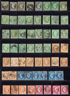 France 1862/1865 – Test of colours and cancellation varieties on Napoleon III,   – Yvert 19 to 24